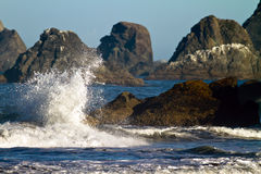 Wave splash and coastal rocks, Oregon Stock Image