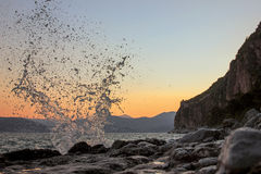 Wave splash. On a greek coast Stock Photos