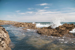 Wave splashes and rocks in the sea Royalty Free Stock Photography