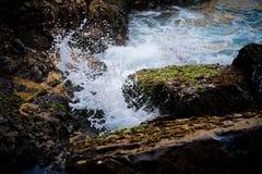 Wave splashing moss rock. Milky white wave. Close up shot stock images