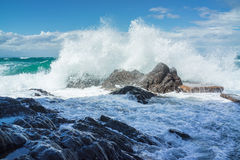 Wave splashing onto rocks Royalty Free Stock Image