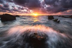Wave splashing in a rock at Barrika. Beach royalty free stock photo