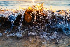 Wave splashing on the sea shore. Close-up. End of summer near sea stock photo
