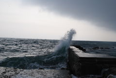 Wave. Storm on the winter sea Royalty Free Stock Photo