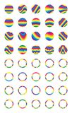 Wave style colorful circle sticker set. This illustration is design colorful stylish stripe with circle shape in isolated object and template sticker on white Stock Photos
