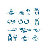 Wave style icon set. food and dish picto. For cafe and reataurant menu. vector illustration Royalty Free Stock Photos