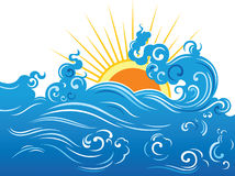 Wave and sun. Blue wave and yellow sun. Vector illustration Royalty Free Stock Photography