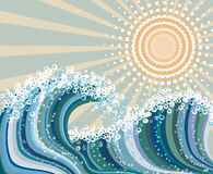 Wave and sun vector illustration