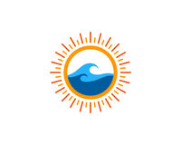 Wave Sun Icon Logo Design Element Royalty Free Stock Photography