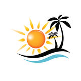Wave, sun and palm symbol Stock Images