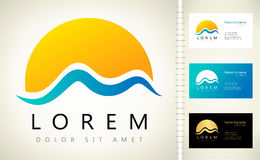 Wave and sun vector logo. With business card template Stock Photo