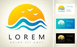 Wave and sun vector logo Royalty Free Stock Photo