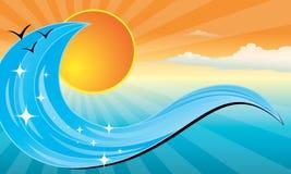 Wave sunset banner Stock Photos