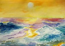 Wave at sunset. Sea wave at sunset watercolor Royalty Free Stock Images