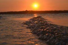 Wave sunset 3 Royalty Free Stock Photography