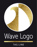 Wave surf logo in gold. On black Royalty Free Stock Images