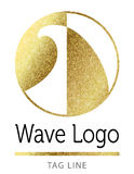 Wave surf logo in gold. On white background Royalty Free Stock Photos