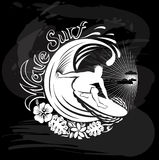 Wave surf, Tropical calligraphic design. On blackboard Royalty Free Stock Images