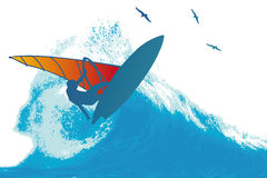 Wave Surfer. Surfer in the sunset vector illustration Royalty Free Stock Images