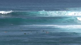 Wave surfing stock video footage