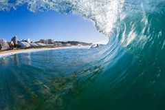 Wave Surfing Inside Water Stock Photo