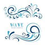 Wave swirls. Wave icons, wavy shapes, decorative swirls on white Royalty Free Stock Photos
