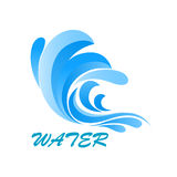 Wave symbol with flowing and curving water Royalty Free Stock Images