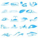 Wave symbols set for design isolated on white Royalty Free Stock Photo