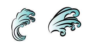 Wave tattoo design isolate vector. Japanese and chinese wave tattoo design isolate vector Royalty Free Stock Image