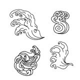Wave tattoo design isolate vector. Japanese and chinese wave tattoo design isolate vector Royalty Free Stock Images