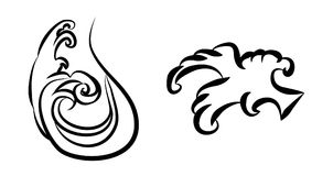 Wave tattoo design isolate vector. Japanese and chinese wave tattoo design isolate vector Stock Photos