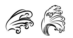 Wave tattoo design isolate vector. Japanese and chinese wave tattoo design isolate vector Royalty Free Stock Photos
