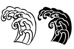 Wave tattoo design isolate vector. Japanese and chinese wave tattoo design isolate vector Royalty Free Stock Photography