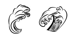 Wave tattoo design isolate vector. Japanese and chinese wave tattoo design isolate vector Stock Image