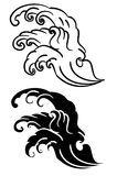 Wave tattoo design isolate vector. Japanese and chinese wave tattoo design isolate vector Stock Photography