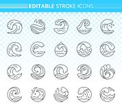 Water wave simple black line icons vector set vector illustration