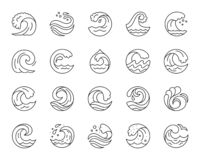 Wave simple black line icons vector set royalty free illustration