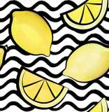 Wave tile pattern. Tropical fruit lemon ornamental wallpaper. Stock Images