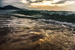 Wave on a tropical beach. In the evening stock photos