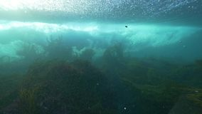 Wave underwater slow motion breaking. stock video