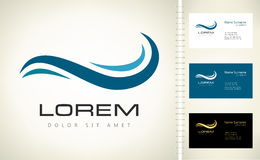 Wave vector logo. With business card template Stock Photography