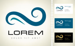 Wave vector logo. With business card template Royalty Free Stock Photos