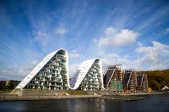 The Wave in Vejle, Denmark. Vejle, Denmark - October 29, 2016: The wave, a modern residential house design by Henning Larsen Architects Royalty Free Stock Images