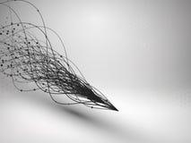 wave Virvel med förbindelselinjen och prickar Bunden struktur för anslutningskugghjul för begrepp 3d mekanism teknologi för plane stock illustrationer