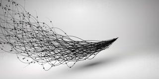 wave Virvel med förbindelselinjen och prickar Bunden struktur för anslutningskugghjul för begrepp 3d mekanism teknologi för plane royaltyfri illustrationer