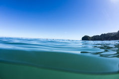 Wave Waiting, North Piha, New Zealand. A water shot at North Piha Beach, with surfers waiting the the next set of waves to come in Stock Photo