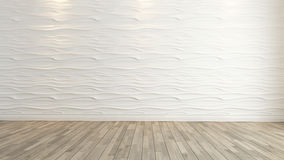 Wave wall decoration with wooden floor rendering Stock Photography
