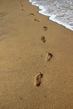 Wave washes away footprints on the sand stock images