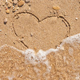 Wave washes away the heart Royalty Free Stock Photo
