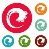 Wave water drop icons circle set vector Stock Image